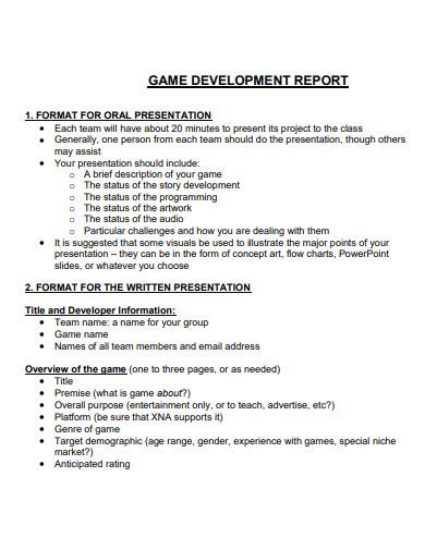 game design development proposal reports