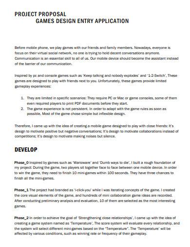 game design entry application proposal