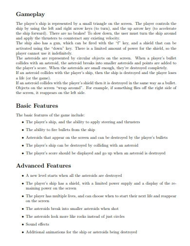 game design features proposal