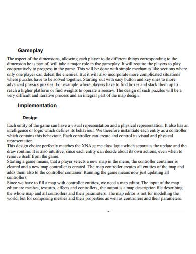 game design implementation proposal
