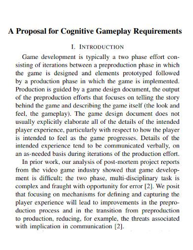 gameplay design requirement proposals