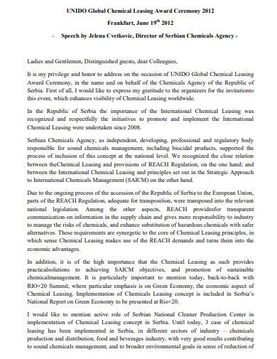 global chemical leasing award ceremony speech