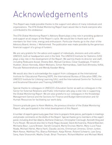 global acknowledgements report