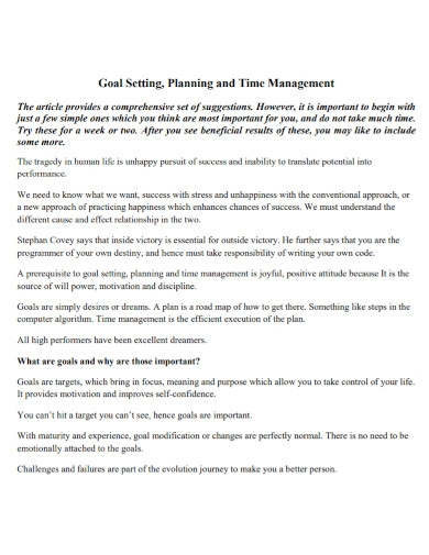 goal setting planning time management