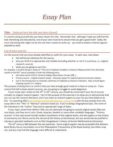 good essay plan