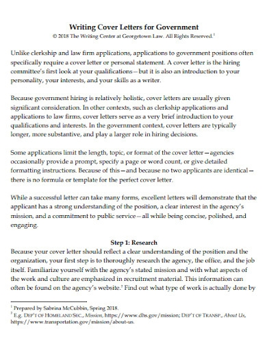 government job application letter