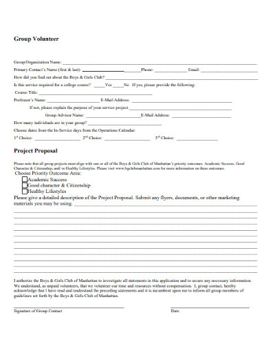 group volunteer project proposal
