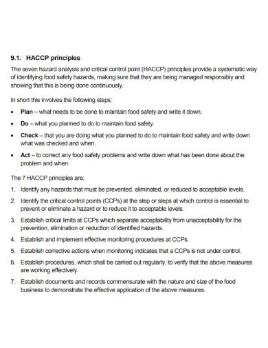 haccp principles plans
