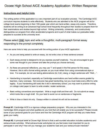 high school academy application essay