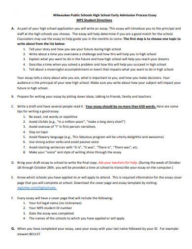 high school admission application essay