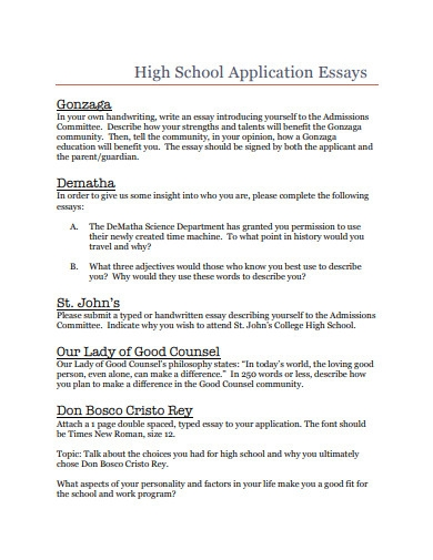 high school application essay template