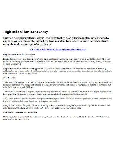 high school business essay