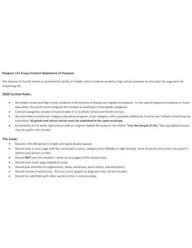 high school respect life essay contest
