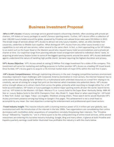 hotel business investment proposal