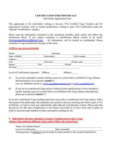 individual yoga certificate