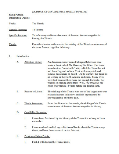 informative essay speech outline