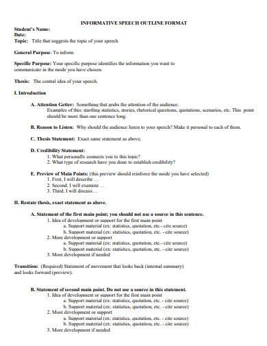 informative speech outline format