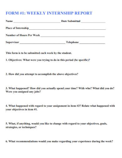 internship weekly report format