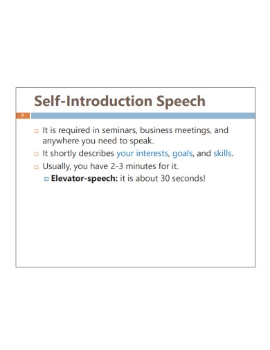 introduction speech about yourself example