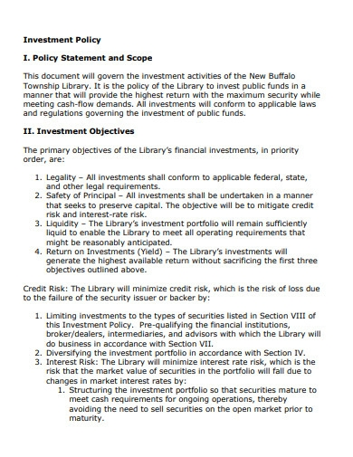 investment policy scope statement