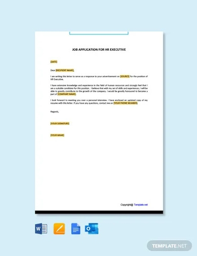 job application for hr executive template