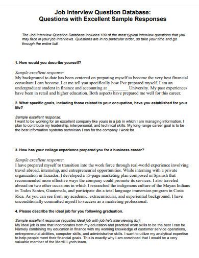 job interview question database essay