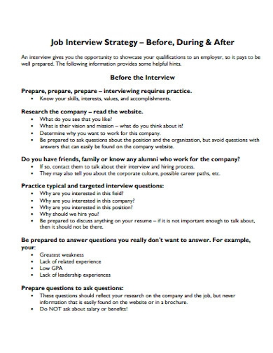 job interview strategy essay