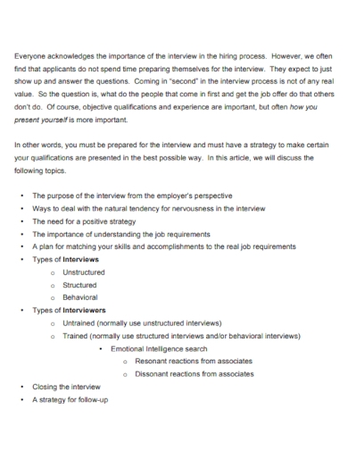 job interview summary outline