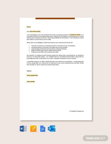 junior accountant job application letter