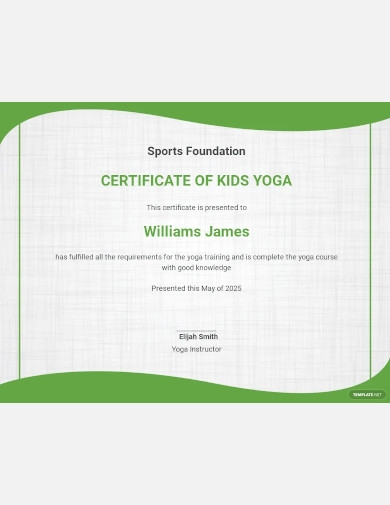 kids yoga certificate template