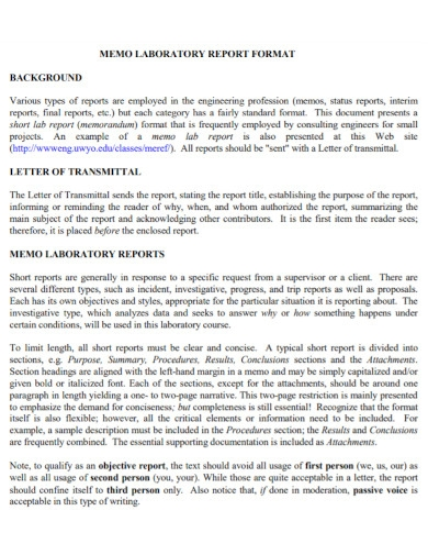 laboratory memo report