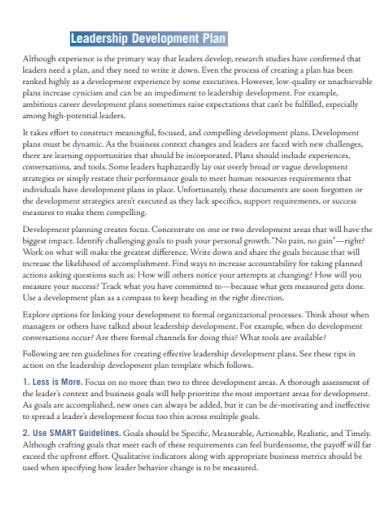 leadership development plan for manager