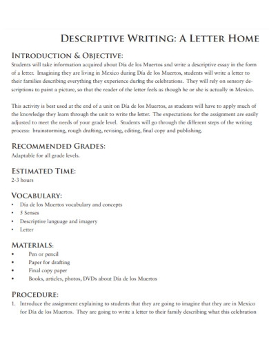 letter home descriptive writing