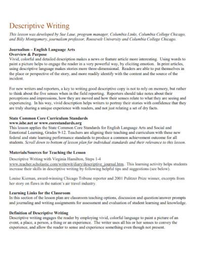 literacy descriptive writing1