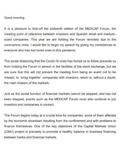medcap forum opening speech