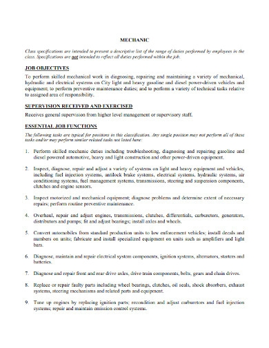 mechanic resume objective statement