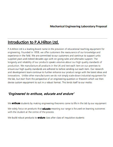 mechanical engineering laboratory proposal