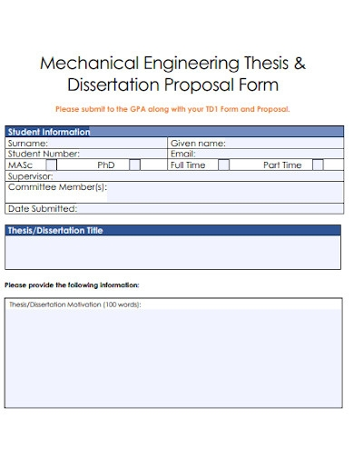 mechanical engineering proposal form