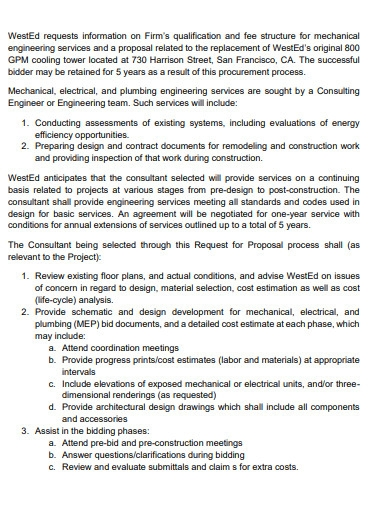 mechanical engineering service consultant proposal