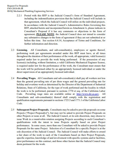 mechanical plumbing engineering services proposal