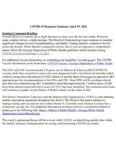 medical case response summary