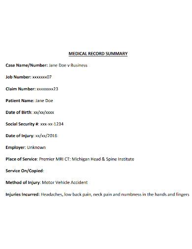 medical case summary format