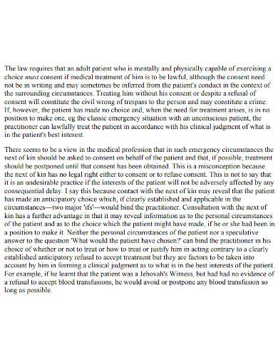 medical treatment case summary