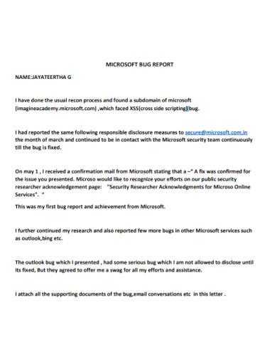 microsoft bug reporting