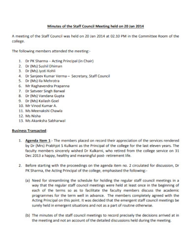 minutes of the staff council meeting