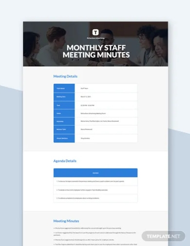 monthly staff meeting minutes template