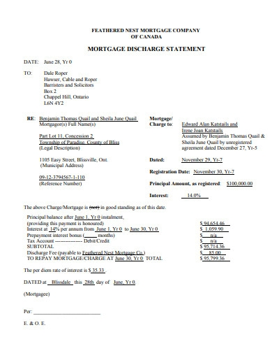 mortgage discharge statement