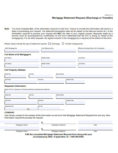 mortgage statement request