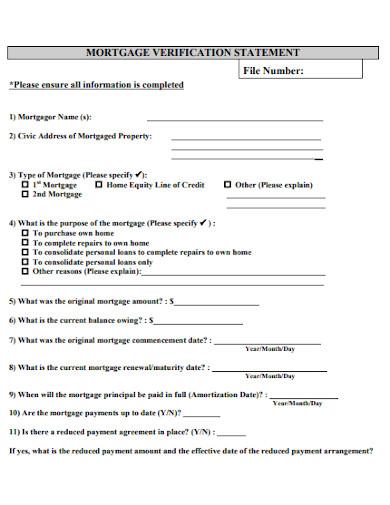 mortgage verification statement