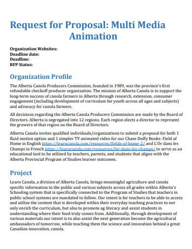 multi media animation request proposal